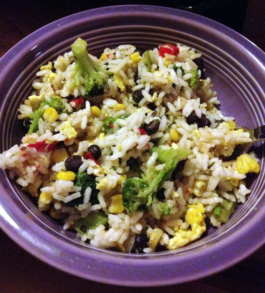 quick stir fried rice and veggies